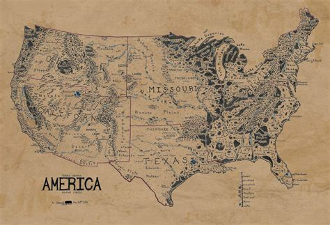 A Map Of The United States, Drawn In The Style Of Lord Of