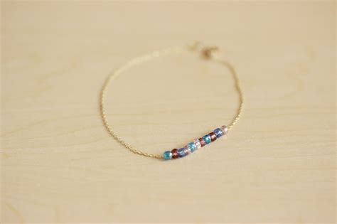 picture  diy delicate anklet  colored beads