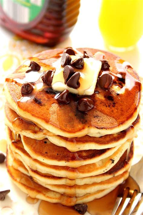 fluffy chocolate chip pancakes recipe crunchy creamy sweet