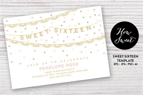 sweet sixteen party card eps invitation templates