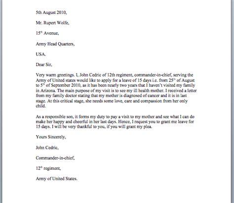 leave application letter sample smart letters