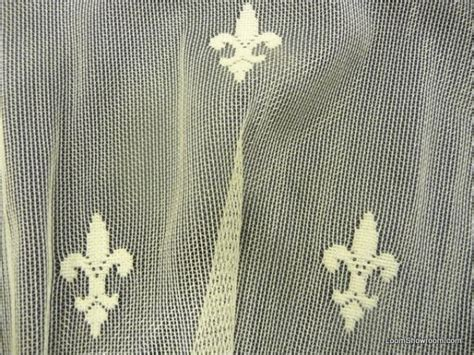 lace sheer fleur de lis embroidered net ivory curtain