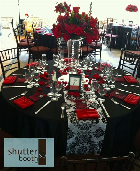 red and black table ls shutterbooth san diego wedding modern elegance red white