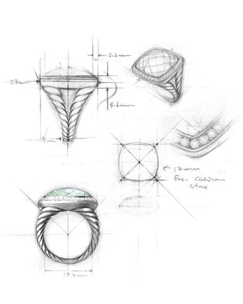 jewelry technical drawing pencil and in color jewelry technical drawing