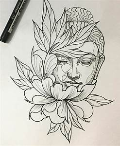 #tatuagem #budismo #buda #flores #peônias | Drawings ...