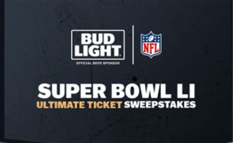 bud light superbowl sweepstakes anheuser busch bud light super bowl li ultimate ticket