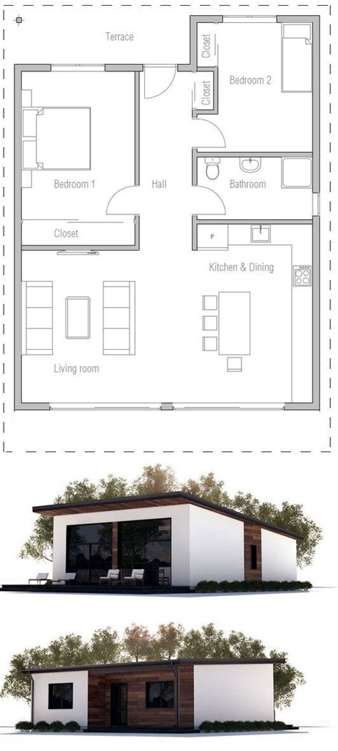 Small House CH265 Guest house plans Two bedroom house