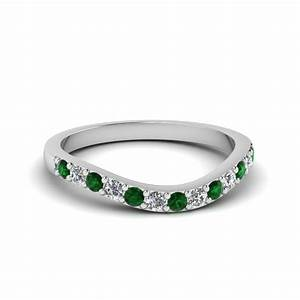 open heart diamond linked band for women in 14k rose gold With emerald wedding rings for women