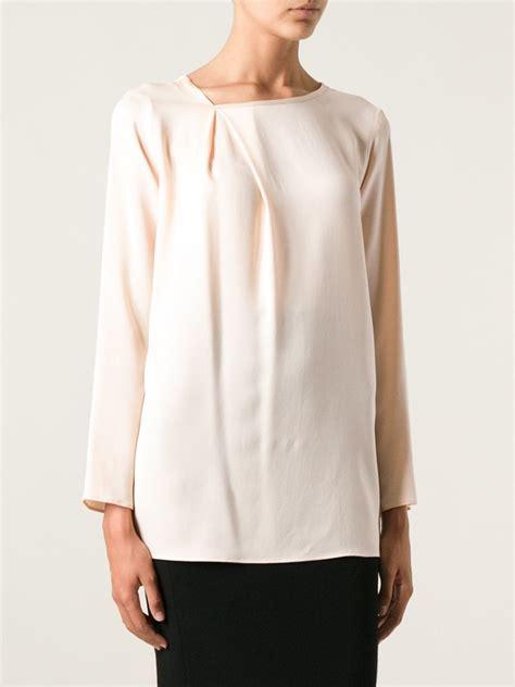 maxmara satin max mara silk blouse in pink lyst