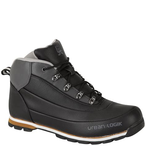Urban Logik Men Darwin Boots Black Charcoal Mens