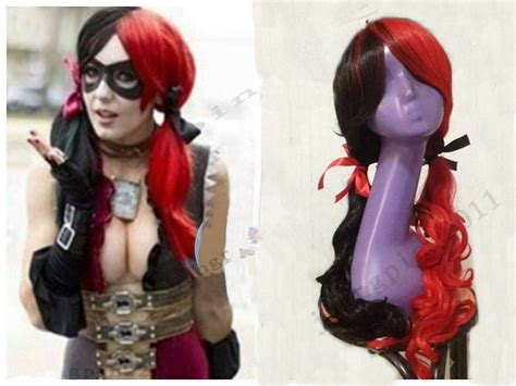 Beautiful Harley Quinn Black And Red Long Curly Hair