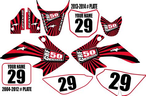 Part 2 suspension upgrades and other parts. Honda CRF50 Complete Graphic Kit Red Swirl Series