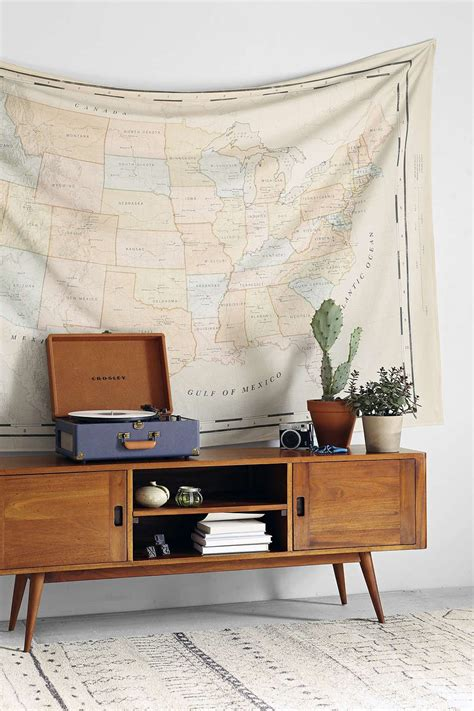 Vintage Map Living Room by 4040 Locust Vintage Map Tapestry Mostly For The Table