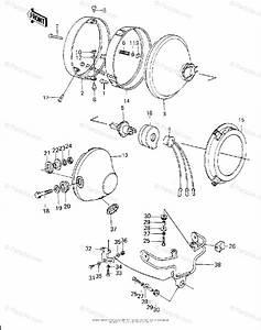 Kawasaki Motorcycle 1980 Oem Parts Diagram For Headlight