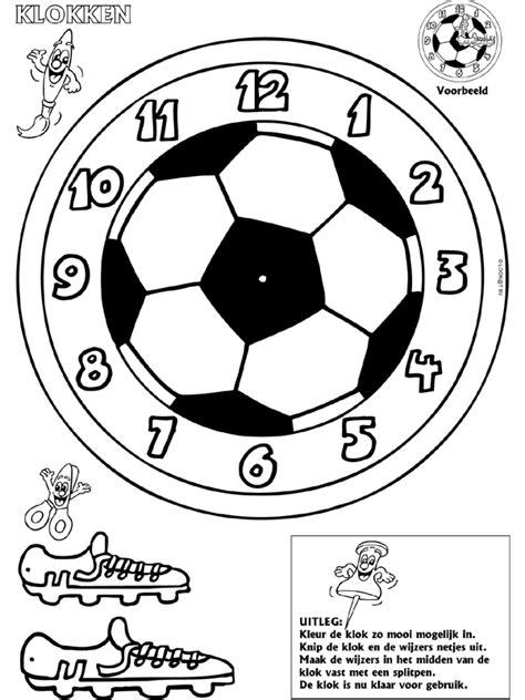 Kleurplaat Abstracte Klok by Voetbal Klokken Maken Knutselpagina Nl Knutselen