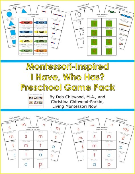 and learning with montessori inspired i who has 215 | Montessori Inspired I Have Who Has Preschool Game Pack