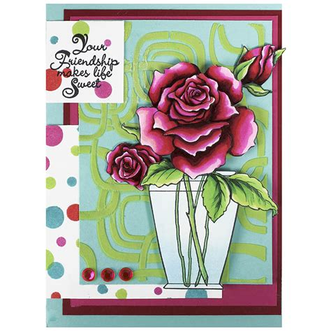 cling rose bouquet rubber stamp set