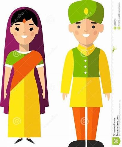 Indian Clipart Traditional Male Female National Costumes