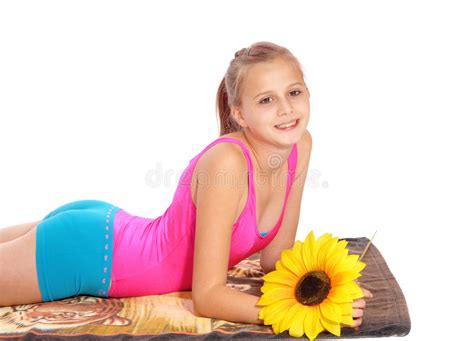 Young Girl Lying In Bathing Suit On A Towel Stock Image Download Free Nude Porn Picture