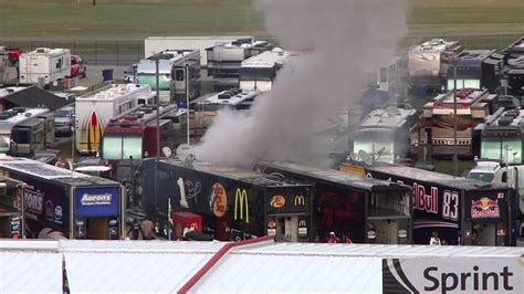 fire  talladega superspeedway garage  nascar race