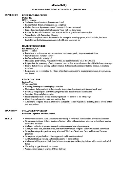 File Clerk Resume by Records Clerk Resume Sles Velvet