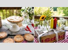 outdoor picnic baby shower for Rhett pie table camping