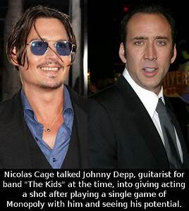 "Nicolas Cage talked Johnny Depp, guitarist for band ""The ..."