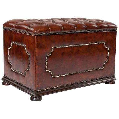 vintage leather footstool antique leather upholstered ottoman for at 1stdibs 3235
