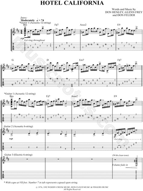 "The Eagles ""hotel California"" Guitar Tab In B Minor  Download & Print  Sku Mn0046035"