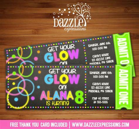 printable chalkboard glow   dark ticket birthday
