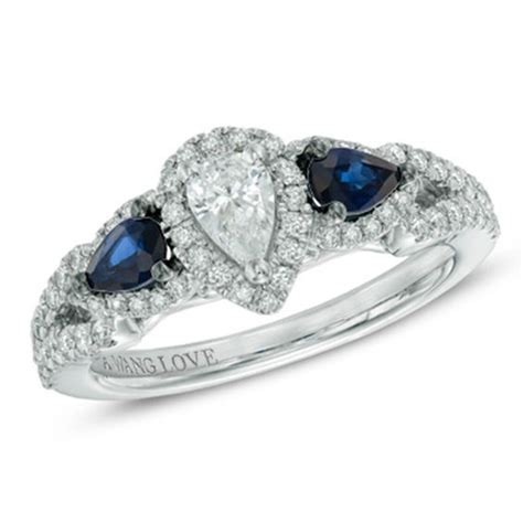 vera wang love collection 0 70 ct t w pear shaped diamond and blue sapphire frame ring in 14k