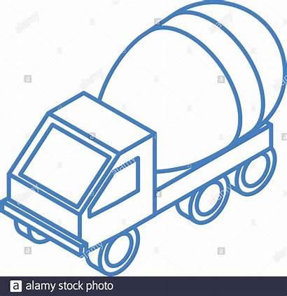 Mixer Truck Repair Transport Concrete Isometric Linear