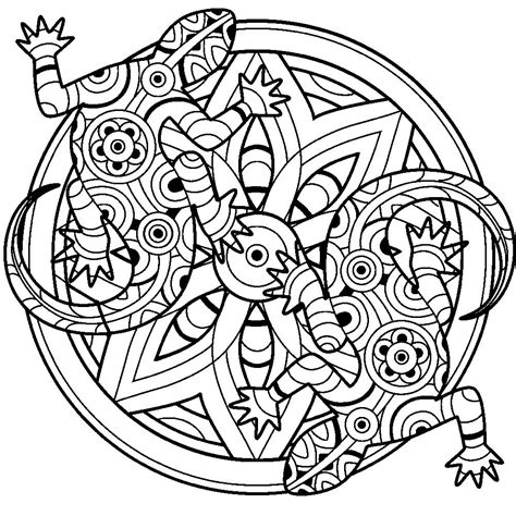 lizards mandala coloring therapy pages coloring book