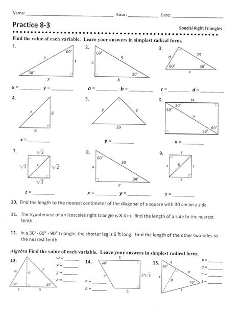 Geometry Special Right Triangles Worksheet Rcnschool
