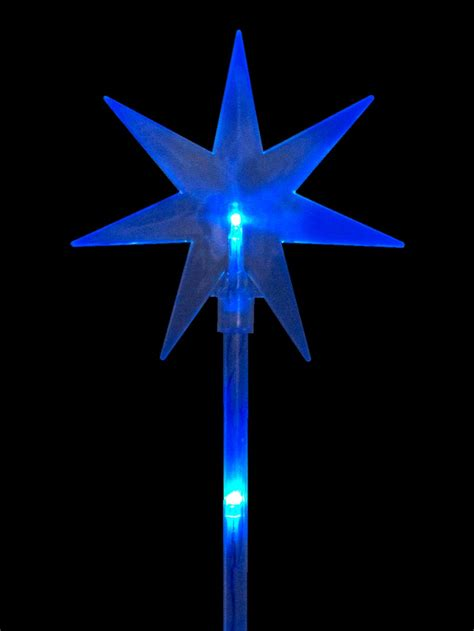 blue led solar north stars  stakes cm christmas