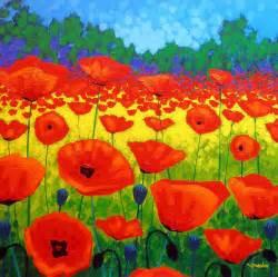 Poppy Curtain by Poppy Field V Painting By John Nolan