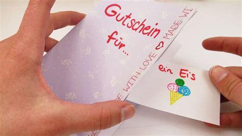diy gutschein tolle geschenk idee karte basteln mit