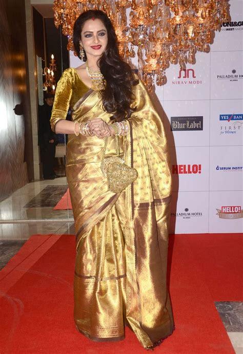 rekha bleeds elegance   golden saree whats hot
