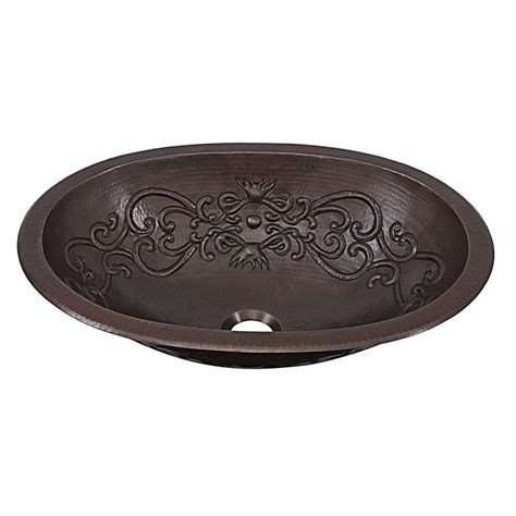 drop in copper bathroom sink shop sinkology aged copper drop in or undermount oval