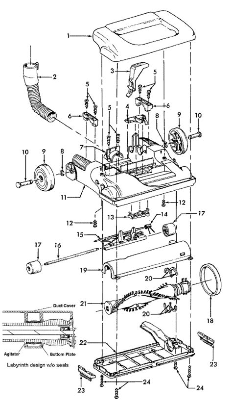 hoover tempo upright vacuum cleaner parts diagram