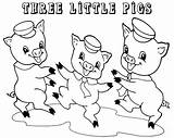 Pigs Coloring Three Pages Preschool Preschoolers Easy Story Drawing Houses Printable Colouring Fun Template Clipart Draw Cartoon Pig Sheets Sheet sketch template