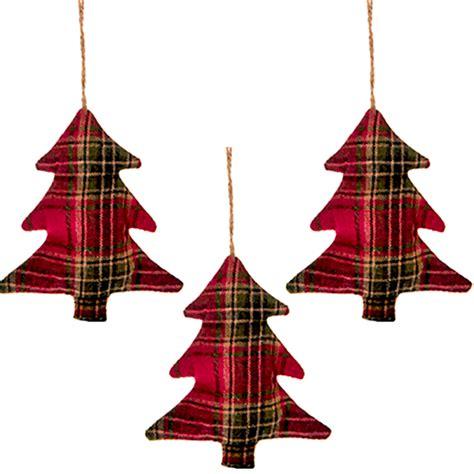 set   tartan christmas tree hanging decorations