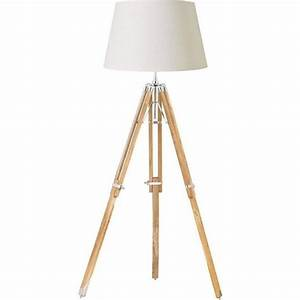 Endon eh tripod flna teak wood tripod floor lamp with shade for Tripod spotlight floor lamp in teak wood