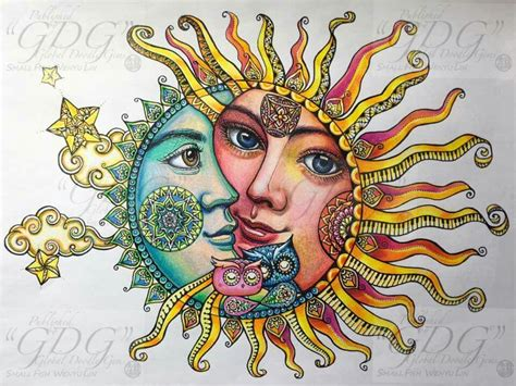 Pin by Candy JT on color pages | Sun and moon drawings ...