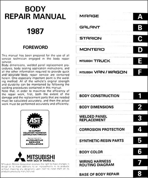 auto repair manual online 1987 mitsubishi mirage electronic valve timing 1987 mitsubishi body manual original