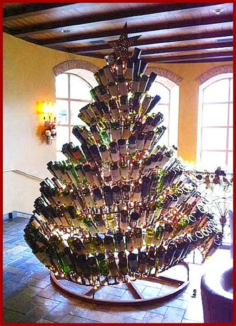 christmas tree made from wine bottles wine archive cooking with