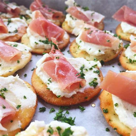 easy no cook canapes ricotta and prosciutto cracker appetizer seasonly creations