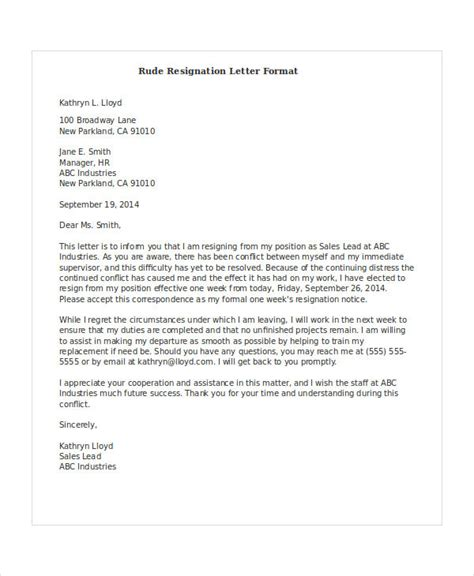 rude resignation letter template   word