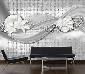 Stuckleisten Anbringen Auf Tapete : fototapete abstrakte lilien grau silber tapete kunstdruck wandbild ebay ~ Orissabook.com Haus und Dekorationen