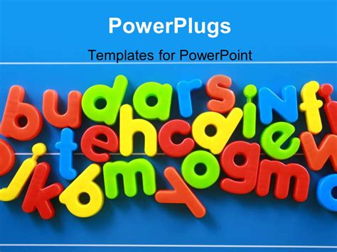 powerpoint template colorful  case letters  blue